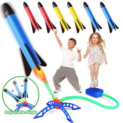 Rakete Spielzeug, Druckluftrakete, Raketentwerfer Outdoor Spiele für Kinder mit 6 Schaumstoff Raketen, Garten...