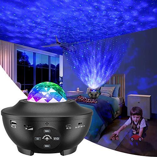 LED Sternenhimmel Projektor,Slols Galaxy Light Sternenlicht Projektor mit 360°Drehen Ozeanwellen/Bluetooth...