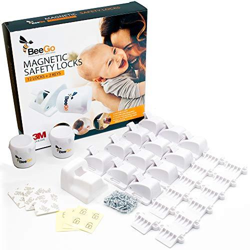 BeeGo Magnetische Kindersicherung Schrank und Schubladensicherung Baby - Schranksicherung Baby mit Schloss (12...