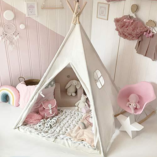 Tiny Land Tipi Spielzelt für Kinder mit gepolsterter Matte & Lichterkette & Aufbewahrungstasche Baumwolle-...