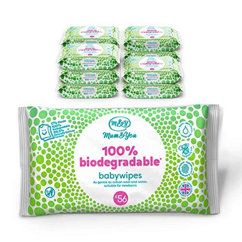 Mum & You 100% Biologisch Abbaubare Feuchttücher für Babys, Packung mit 12, (Insgesamt 672 Tücher). 98%...