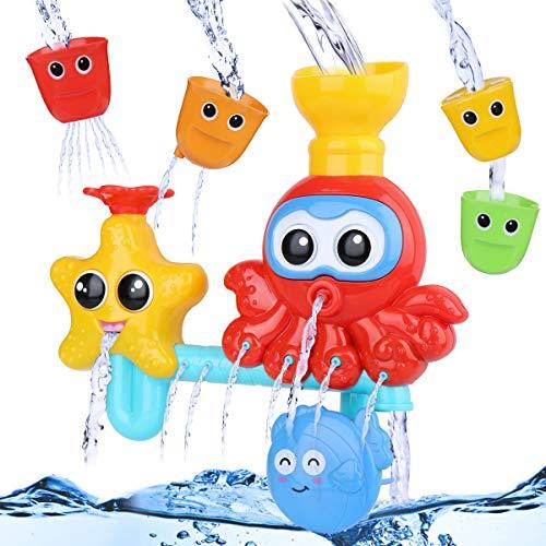 BBLIKE Badespielzeug für Babys, Kinder Wasser Dusche Badewannenspielzeug mit 3 Stackable and Nesting Cups,...