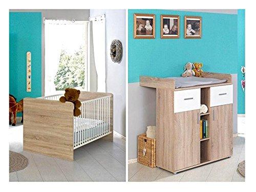 Sparset Babyzimmer / Kinderzimmer komplett Set ELISA in Eiche Sonoma Weiß - umbaubar zum Juniorbett -...
