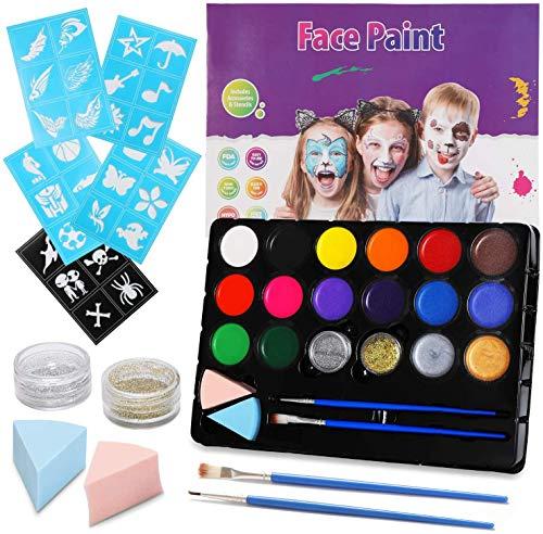 EPCHOO Kinderschminke Set, 16 Farben Körperfarben Set Ungiftig Schminkpalette mit 30 Schablonen,...