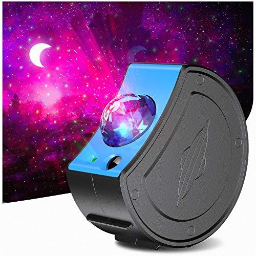 Zenoplige Sternenhimmel Projektor, Sternenlicht Projektionslampe USB Aufladung 3 in1 Stern Mond Ozeanwellen...