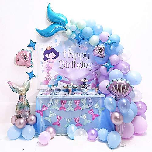 teyiwei Meerjungfrau Party Dekorationen für Mädchen Alles Gute zum Geburtstag Banner Latex Luftballons...