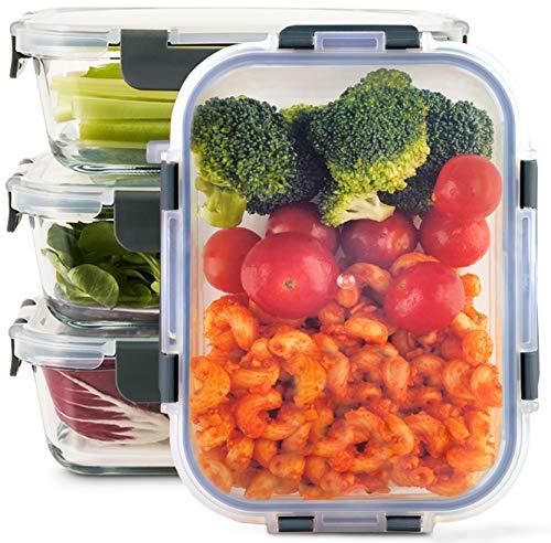 Zoë&Mii Lebensmittelbehälter aus Glas 4-er Set 880 ml - Hochwertige und luftdichte Glasschalen BPA-frei -...