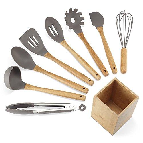 NEXGADGET Küchenhelfer Set, 9 Stücke Silikon Küchenutensilien Set, Küchenzubehör Kochgeschirr Set inkl....