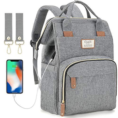 Baby Wickelrucksack Wickeltasche mit USB-Ladeanschluss und 2 Kinderwagengurten Multifunktional Große...