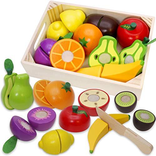 Airlab Kinderküche Spielküche Zubehör aus Holz, Küchenspielzeug Schneiden Obst Gemüse Lebensmittel Holz...