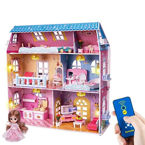 RuiDaXiang Puppenhaus mit Möbeln und Fernbedienungsleuchten. 6 Zimmer auf DREI Etagen, Puppenhaus Spielzeug...