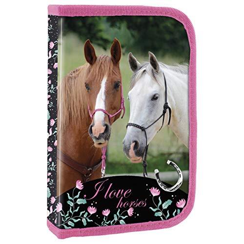 Ragusa-Trade Mädchen Kinder Pferde 1-Fach Federtasche Federmappe Schlamper 22 TLG. gefüllt (19), pink, 20,5...