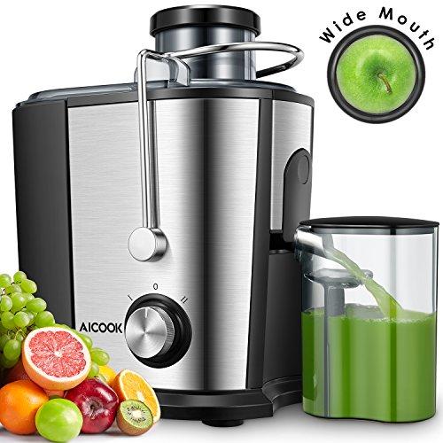 Entsafter für Obst und Gemüse, Aicook Zentrifugaler Entsafter Juicer in Edelstahl, 65MM Breiter Mund, 2...