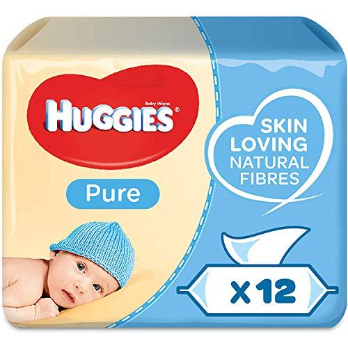 Huggies Pure Baby-Feuchttücher, Für den ganzen Körper, 99 % reines Wasser, Geruchsneutral, 12 x 56 Tücher,...