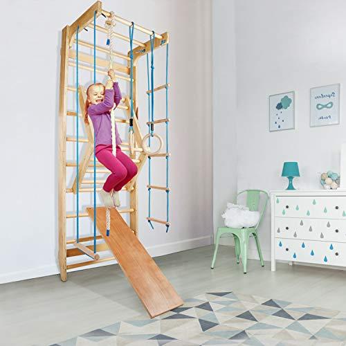 CCLIFE Sprossenwand Turnwand Gym Klettergerüst Holz Sportgerät Kletterwand mit Stange Fitness Kinder...