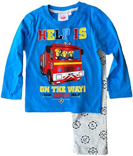 FEUERWEHRMANN SAM Pyjama Lang Jungen + Mädchen Schlafanzug Sweatshirt + Hose Kinderpyjama 3 4 5 6 8 Jahre 98...
