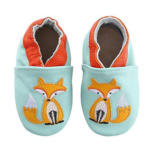 koshine Weiches Leder Krabbelschuhe Baby Schuhe Kinder Lauflernschuhe Hausschuhe 0-3 Jahre (12-18 Monate,...