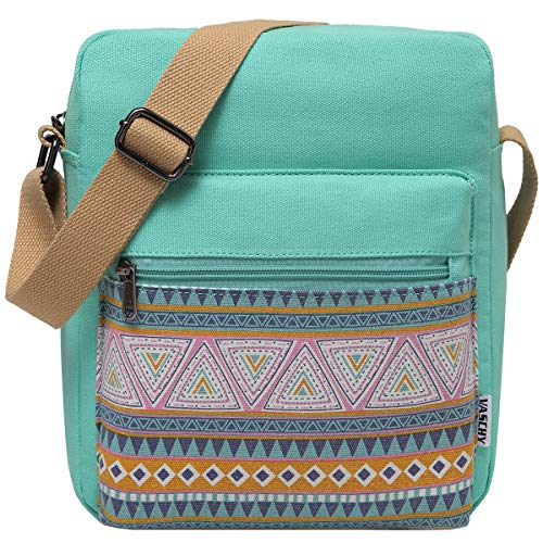 VASCHY Umhängetasche Mädchen, Vintage Klein Wasserabweisend Canvas Schultertasche Crossbody Bag Damen...