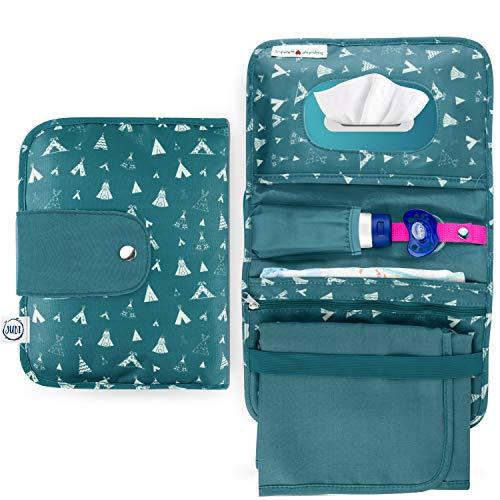 Jubi® Windeltasche mit Wickelunterlage für unterwegs mit großer Feuchttücheröffnung - Kleine Wickeltasche...