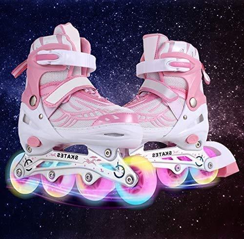 Hesyovy Leucht PU Räder Inline-Skates, Rollerblades für Kinder, größenverstellbar von 31 bis 42, ideal...