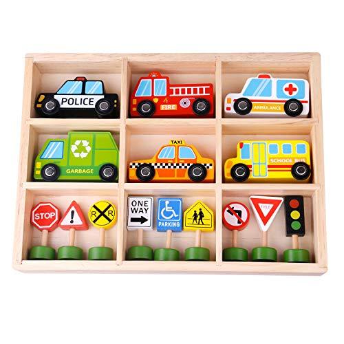 Tooky Toy Fahrzeuge und Straßenschilder aus Holz - Holz-Auto Spielzeug-Auto Verkehrspiel Kinder-Spielzeug...