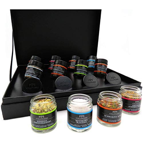 Hallingers 12er BBQ-Geschenk-Set mit Gewürzen aus aller Welt (220g) - Klassisches BBQ-Set (Design-Karton) -...