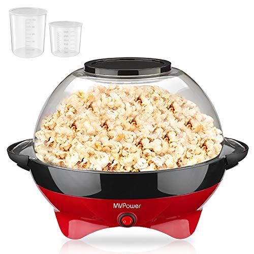 MVPower Popcornmaschine, 800W Popcorn Maker, Abnehmbares Heizfläche Antihaftbeschichtung und große Deckel,...