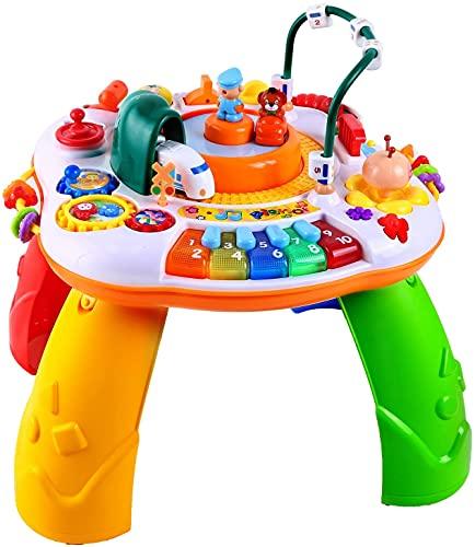 Ohuhu Spieltisch Musikalischer, 42x41cm, Lerntisch Baby Spieltisch mit Simulationszug, Activity Table...