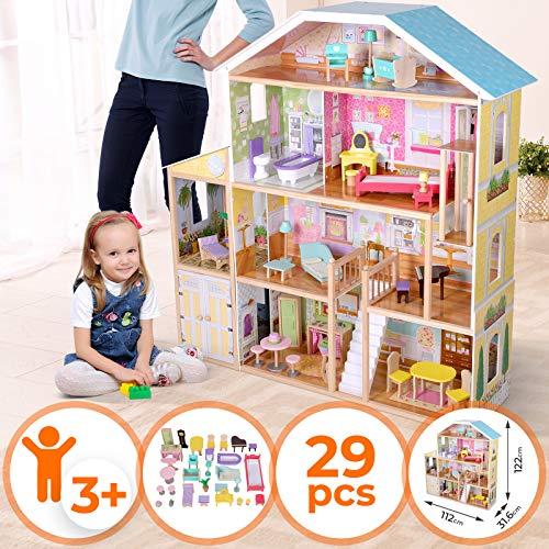 Puppenhaus aus Holz - 4 Spielebenen, mit Möbeln und Zubehör, für 30 cm große Puppen - Puppenvilla,...