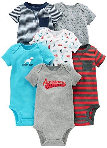 Simple Joys by Carter's Baby Jungen Strampler kurzärmlig 6er Pack ,marineblau / rot ,0-3 Months