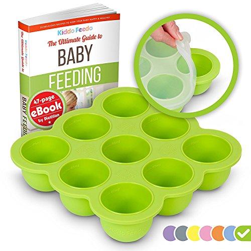 KIDDO FEEDO Silikon Babynahrung Aufbewahrung Behälter Zum Einfrieren Babybrei mit Silikondeckel - BPA-frei -...