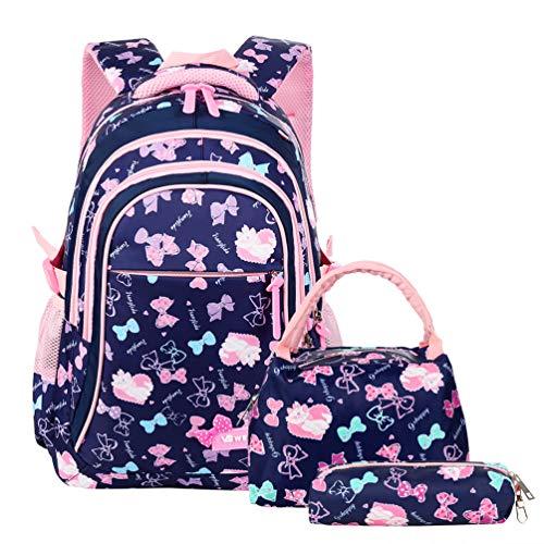 Vbiger Schulranzen Mädchen Schulrucksack Schultasche Rucksack Kinder Daypack 3 Teile Set für Schule und...