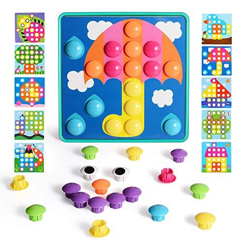 NextX Mosaik Steckspiel mit 46 Steckperlen und 10 Bunten Steckmosaik für Kinder ab 2 Jahre Steckspielzeug...