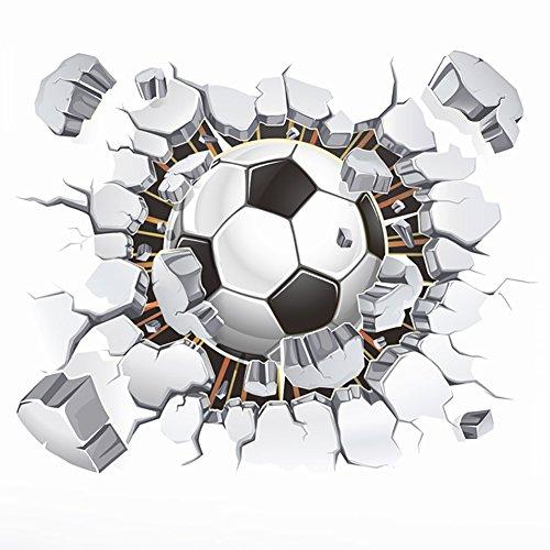WandSticker4U®- 3D Wandtattoo Fussball I Wandbild: 50x40 cm I Wandsticker Kinder WM EM Stadion Arena Mauer...