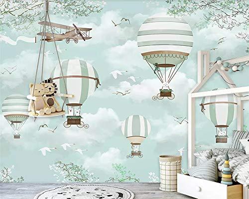 Große kundenspezifische Tapete Wandbild Cartoon Heißluftballon Flugzeuge Blauer Himmel Handgemalte Karikatur...