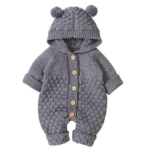 Haokaini Neugeborenes Baby Ohr Kapuze Gestrickte Strampler Overall Winter wärmer Schneeanzug für Jungen...