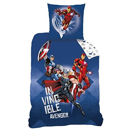 CTI Avengers Bettwäsche Bettbezug 135x200 80x80 Baumwolle · Kinderbettwäsche für Jungen Marvel Avenger...