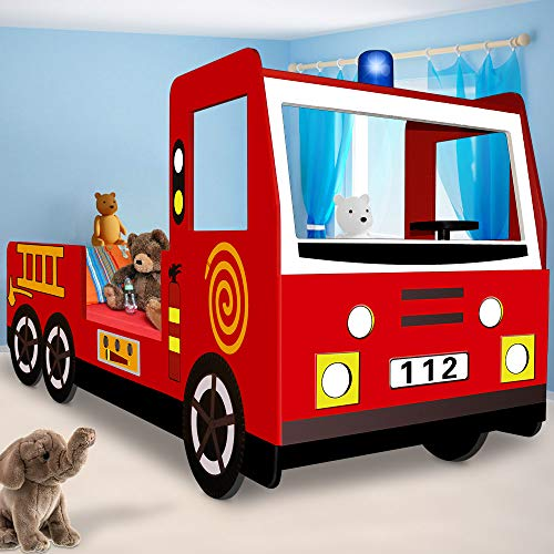 Kinderbett Jugendbett Juniorbett Bett Autobett Feuerwehrbett Spielbett Kindermöbel 205 cm x 94,5 cm x 103 cm...