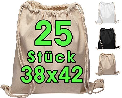 Baumwoll Turnbeutel 25 Stück 38 x 42cm Sportbeutel - Rucksack Stofftasche Bag, Beutel, Baumwollbeutel,...
