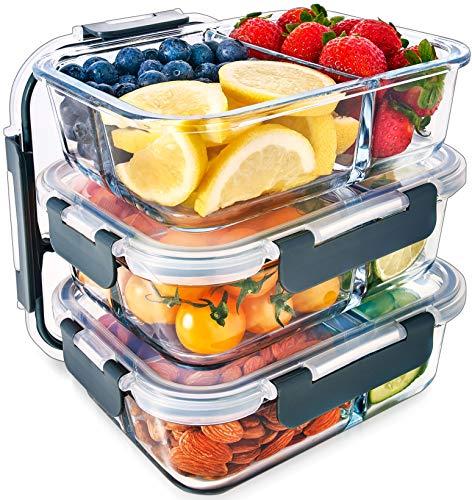 3-Fach Meal Prep Container aus Glas mit Transparentem deckel – Luftdicht Verschließbare Frischhaltedosen,...