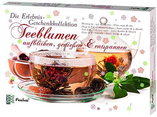 Feelino Teeblumen Geschenk-Kollektion mit 24 verschiedenen Teerosen, Teeblüten-Probierset, Adventskalender,...