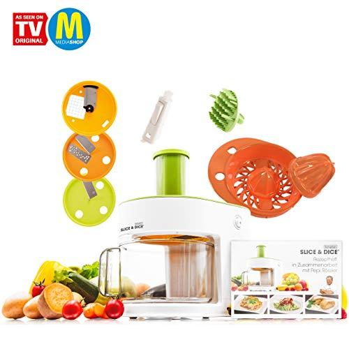 Mediashop Livington Slice & Dice Set – elektrischer Allesschneider – 6-in-1 Gemüseschneider mit...