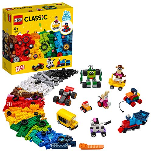 LEGO 11014 Classic Steinebox mit Rädern, Bauset für Kinder, Spielzeug ab 4 Jahren mit Spielzeugauto, Zug,...