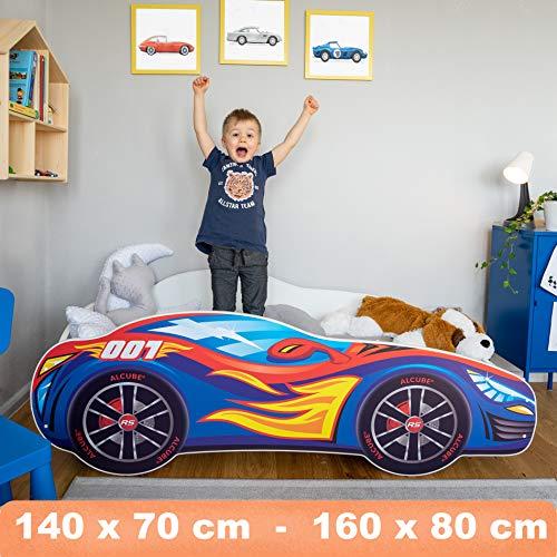 Autobett Pkw Burning Flame 70x140 cm Kinderbett blau mit Lattenrost und Matratze MDF beschichtet