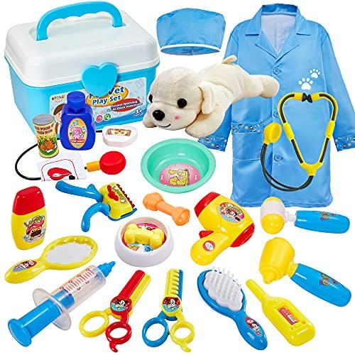 Buyger Tierarztkoffer mit Hund Rollenspiel Spielzeug Kinder Arztkoffer Tierarzt Spielset für Mädchen Junge...