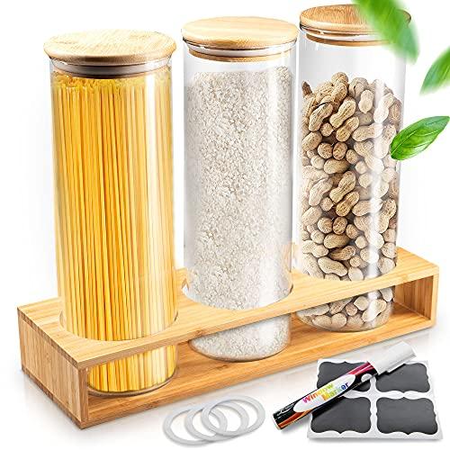 Enjoydays® Vorratsgläser mit Deckel im 3er Set | 2000ml Aufbewahrungsgläser mit passendem Bambusregal für...
