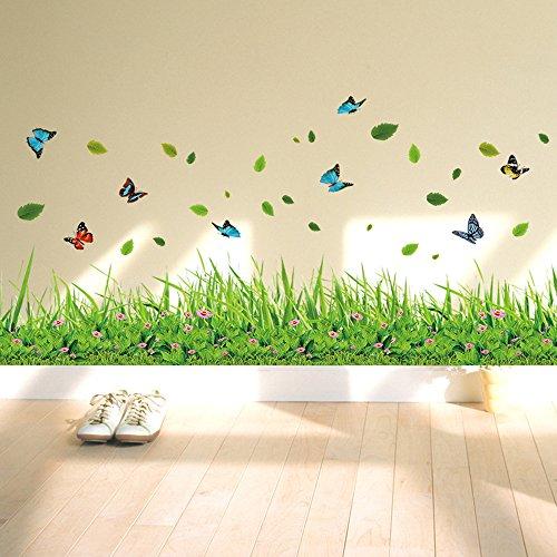 ufengke® Grünes Gras Blumen Schmetterlinge Wandsticker, Wohnzimmer Schlafzimmer Baseboard Entfernbare...