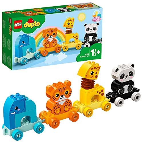 LEGO 10955 DUPLO Mein erster Tierzug mit Elefanten, Tiger, Panda und Giraffe für 1,5-jährige Kleinkinder,...