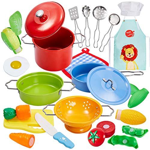 Buyger Küche Kochgeschirr Kinder Geschirr Spielzeug Kinderküche Zubehör Töpfe und Pfannen für Mädchen...