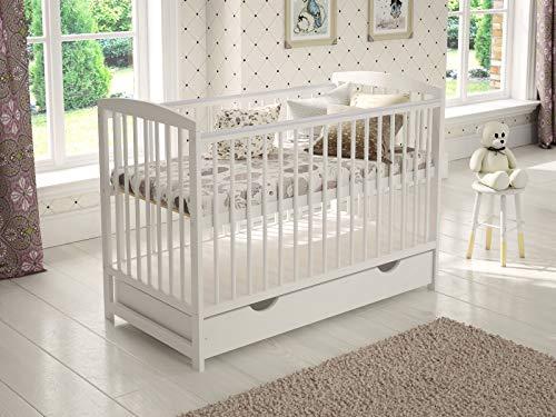 Babybett Gitterbett mit Schublade 120 x 60 cm + Schaumstoffmatratze + Hölzerne Sicherheitsbarriere +...